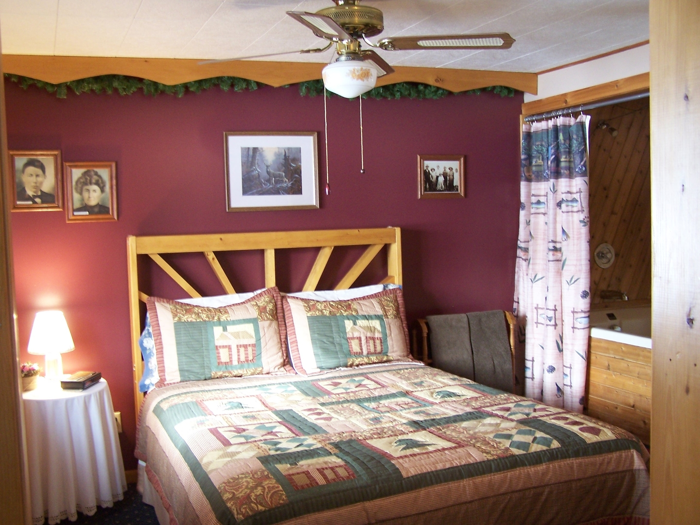 A bedroom with a bed in a room at Pleasant Lake Bed & Breakfast.