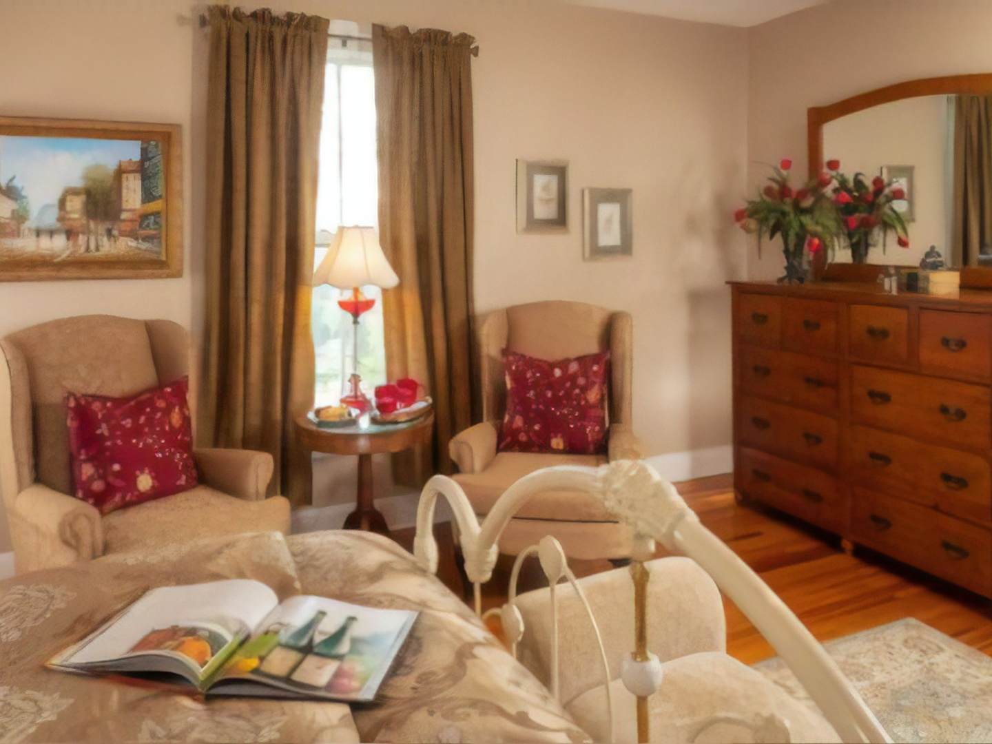 A living room filled with furniture and a fire place at Orchard House Bed & Breakfast.