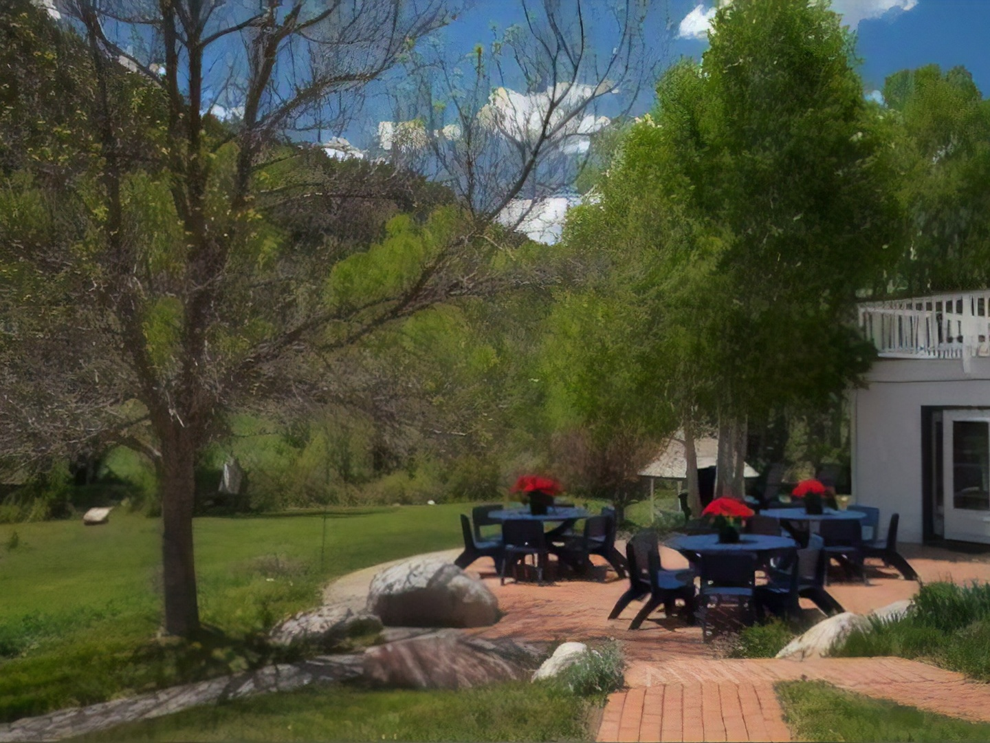 A group of people in a park at Antlers on the Creek Bed & Breakfast.