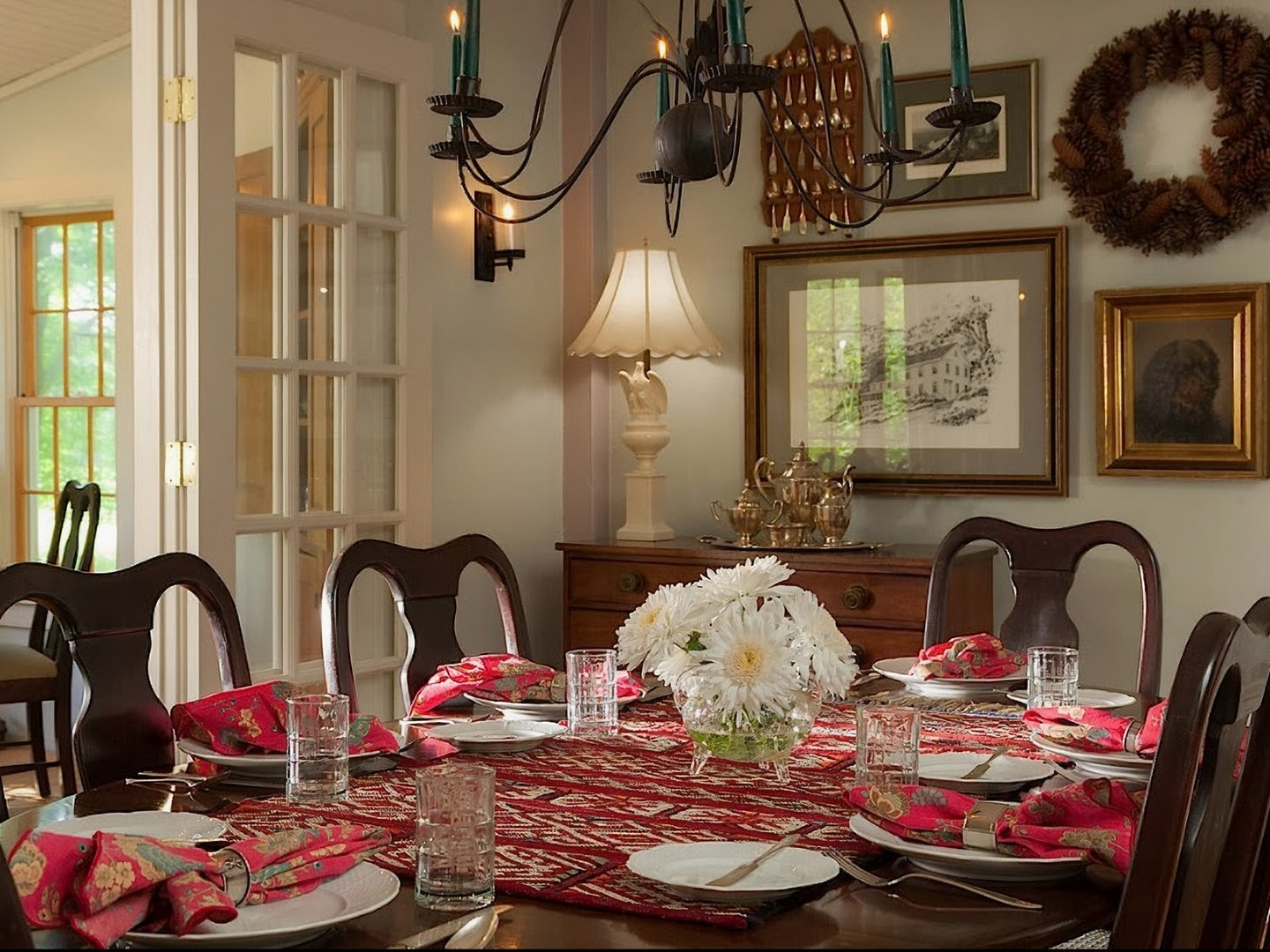 A dining room table with a plate of food at The Inn at Green River.