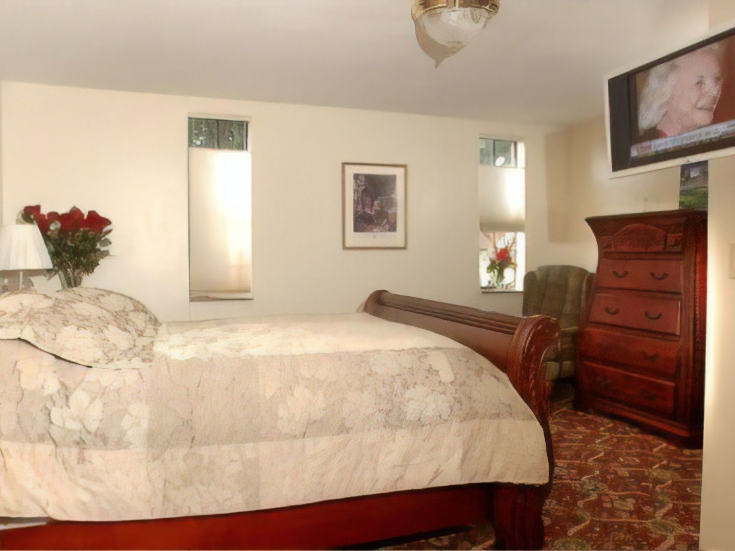 A bedroom with a large bed in a room at Fitzgerald's Irish Bed & Breakfast.