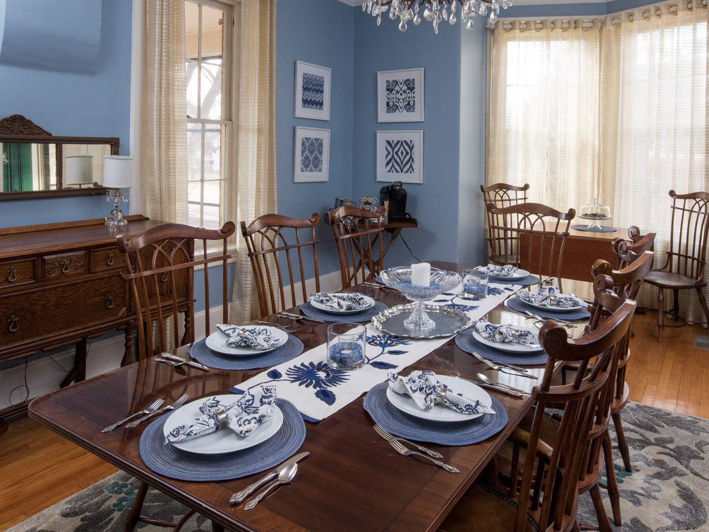 A dining room table at Aldrich Guest House.