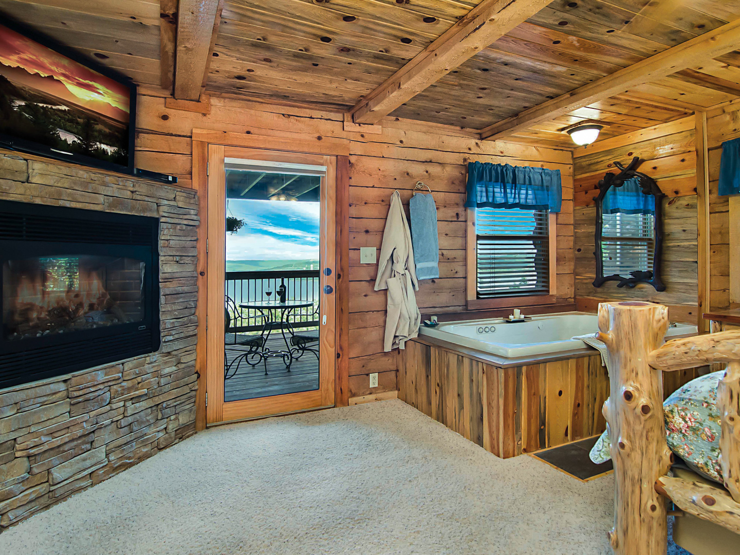 A room filled with furniture and a fireplace at White River Lodge.