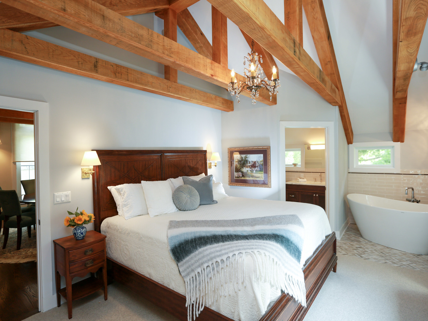 A bedroom with a bed in a room at Woolverton Inn.