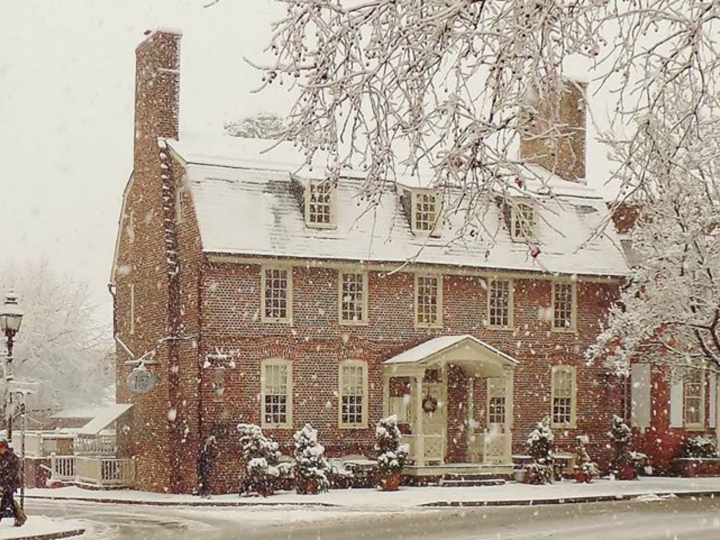 A building covered in snow at Reynolds Tavern.
