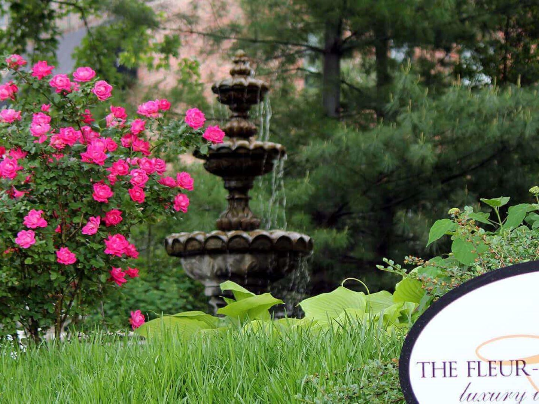 A close up of a flower garden at The Fleur-de-Lys Mansion.