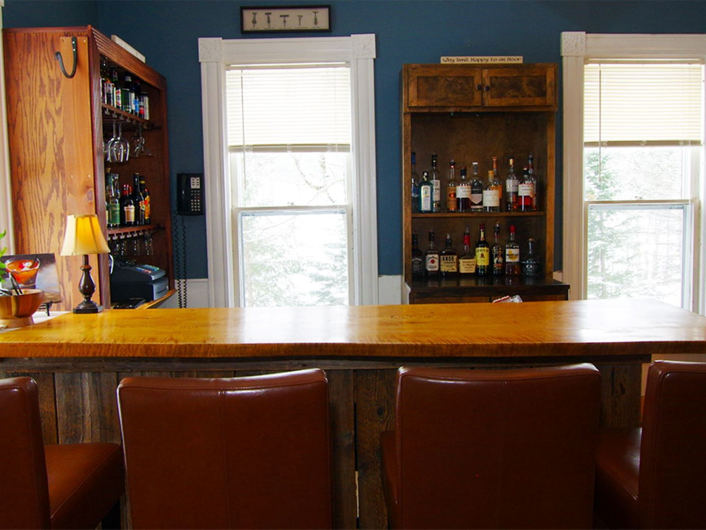 A kitchen with a large window at The Wilmington Inn.