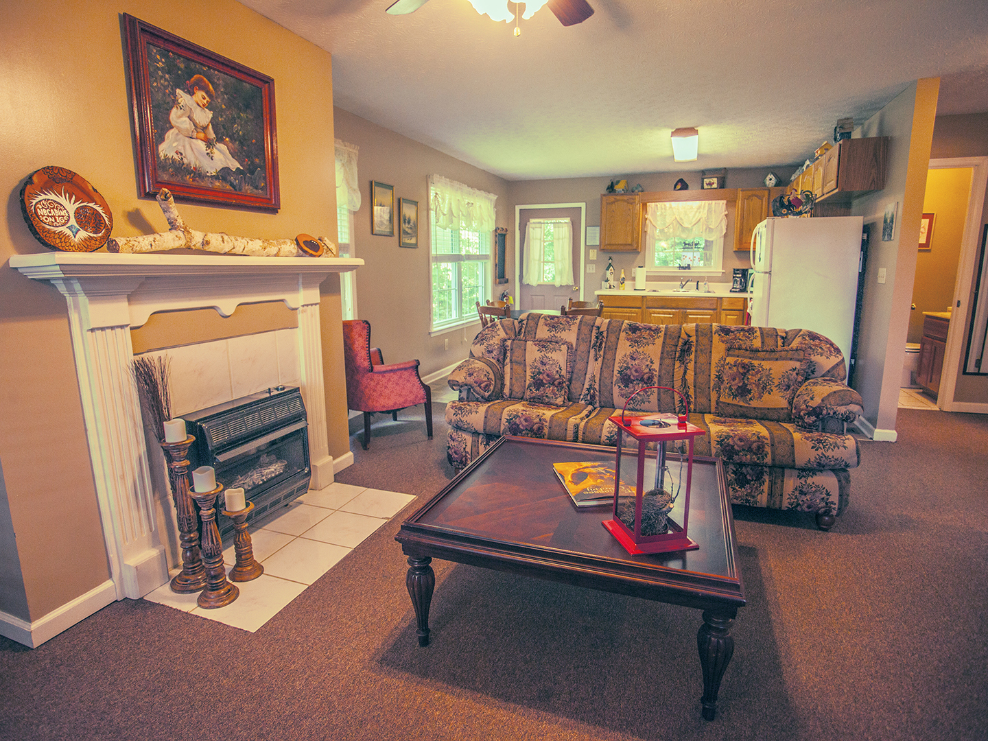 A living room filled with furniture and a fireplace at Nolichuckey Bluffs Bed & Breakfast Cabins.