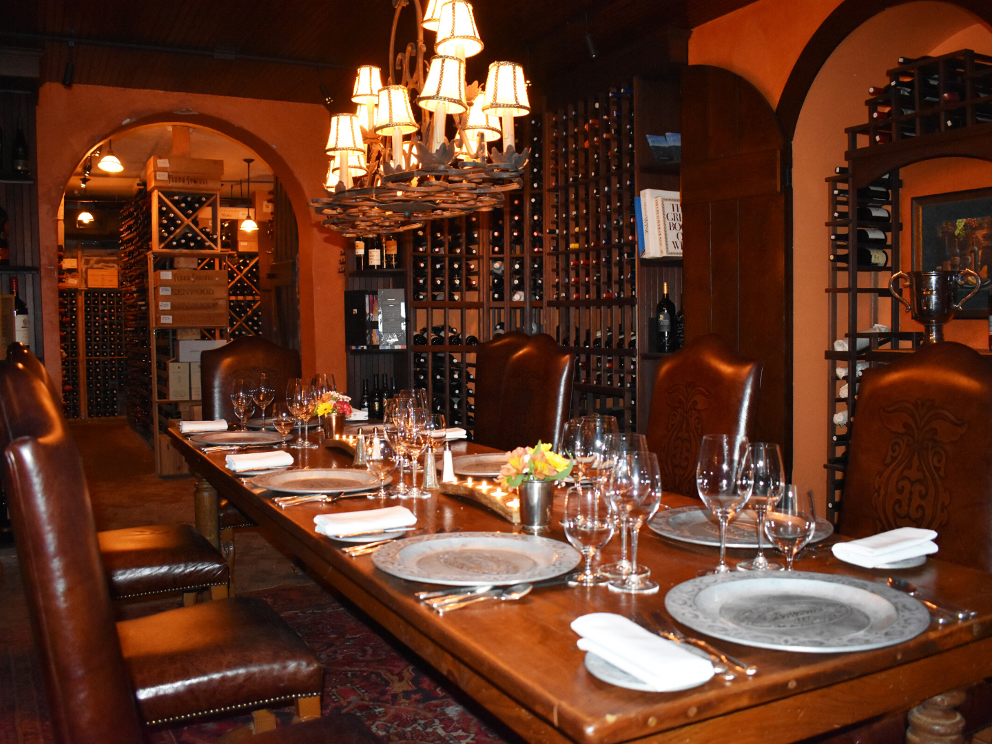 A dining table with wine glasses at Antrim House.