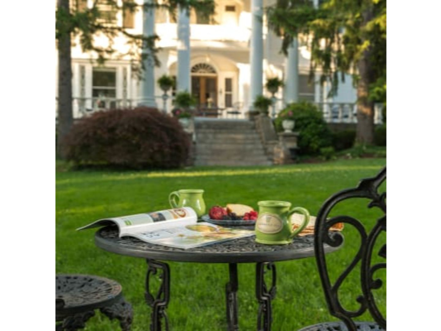 A couple of lawn chairs sitting on top of a table at Albemarle Inn.