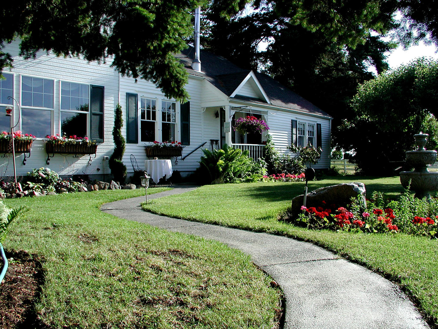 A large lawn in front of a house at Cozy Rose Bed and Breakfast.