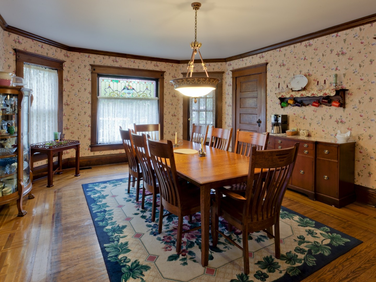 A dining room table at Garver House Bed and Breakfast.