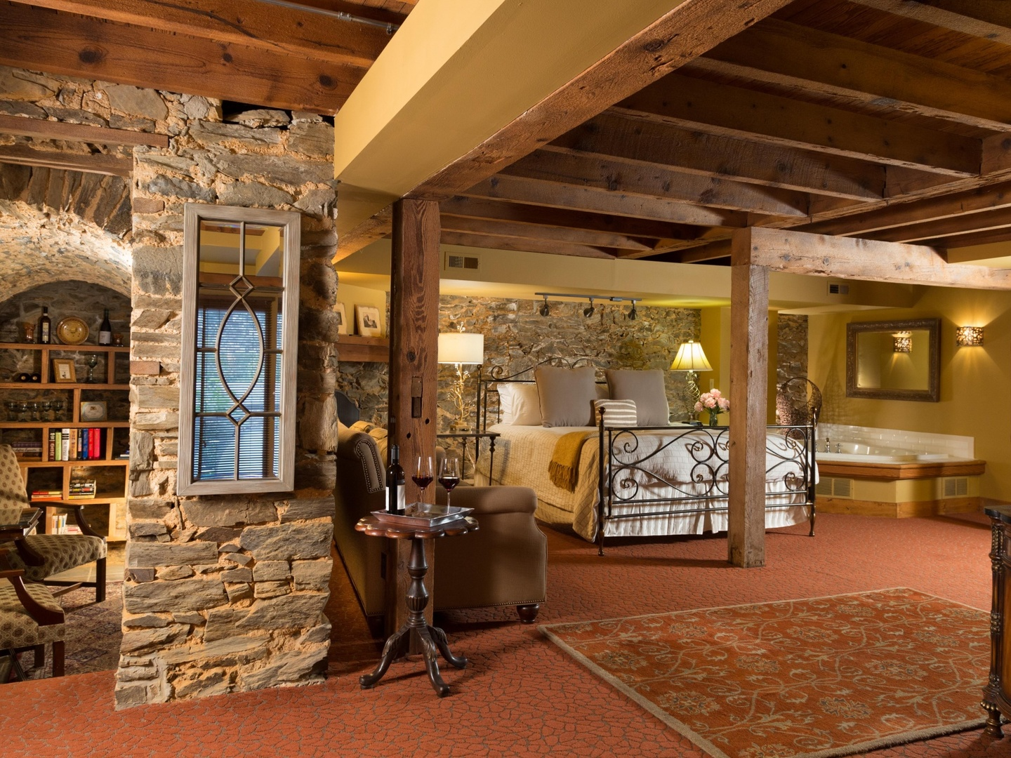 A room filled with furniture and a fireplace at The Inn at Leola Village.
