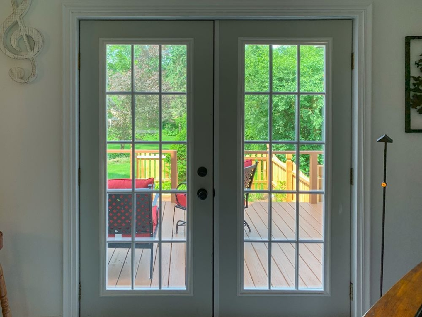 A glass door at Red Fox Run Bed & Breakfast.
