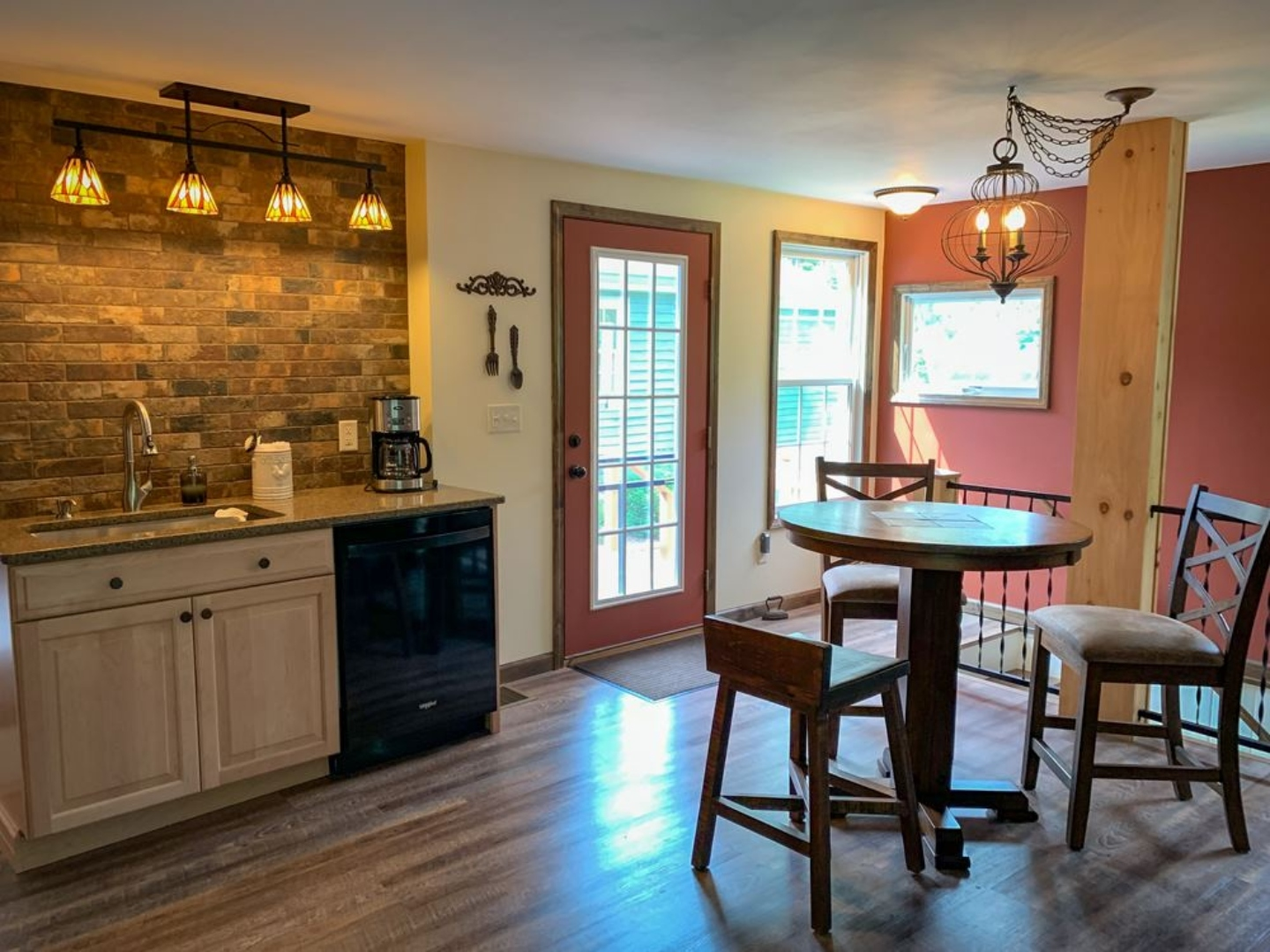 A kitchen with a dining room table at Red Fox Run Bed & Breakfast.