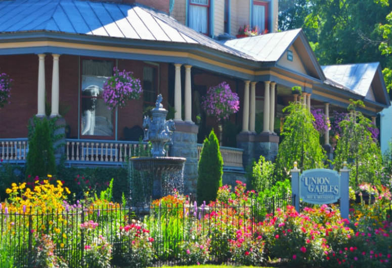 A close up of a flower garden at Union Gables.