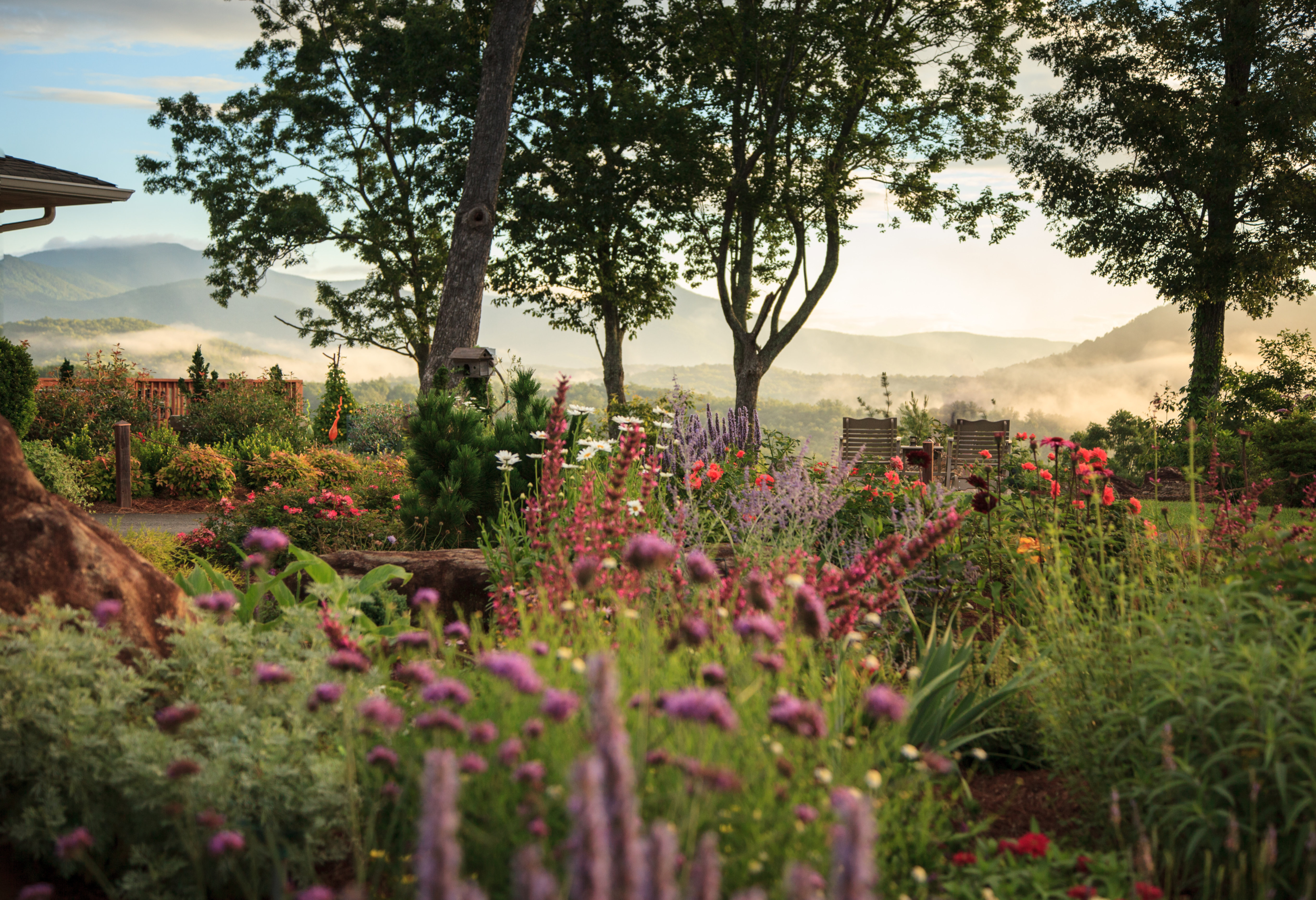 A close up of a flower garden at Lucille's Mountain Top Inn & Spa.