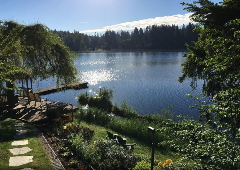A large body of water surrounded by trees at Cottage Lake Bed and Breakfast.