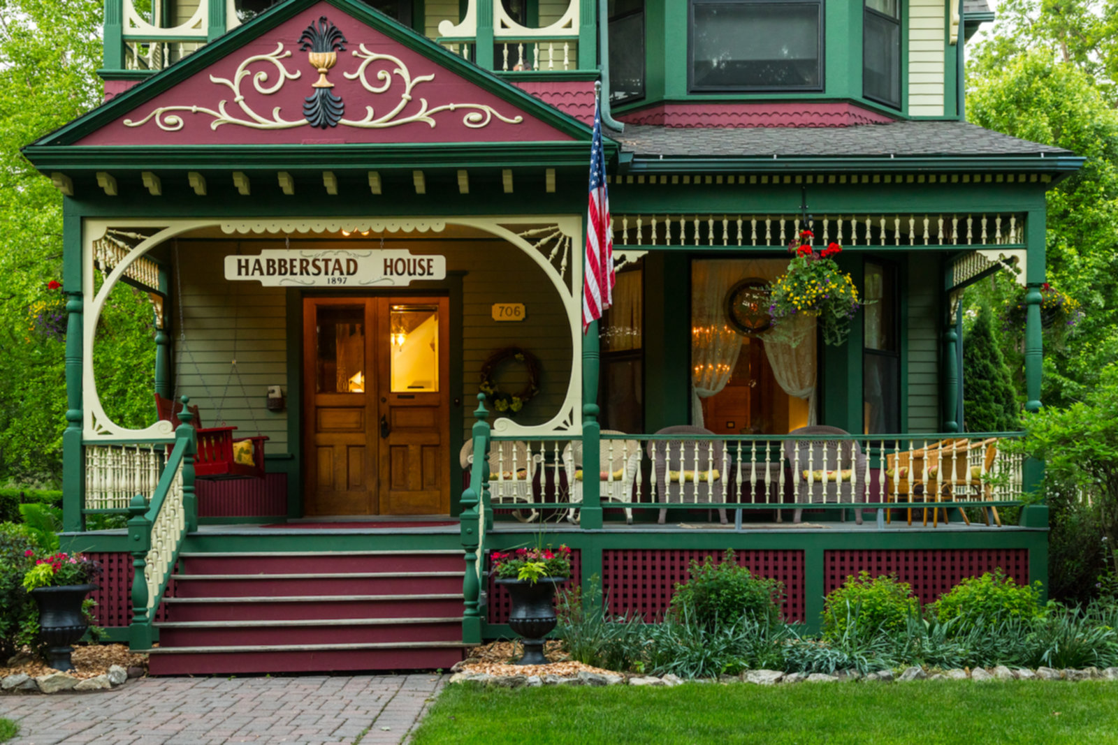 A store front at day at Habberstad House Bed and Breakfast.