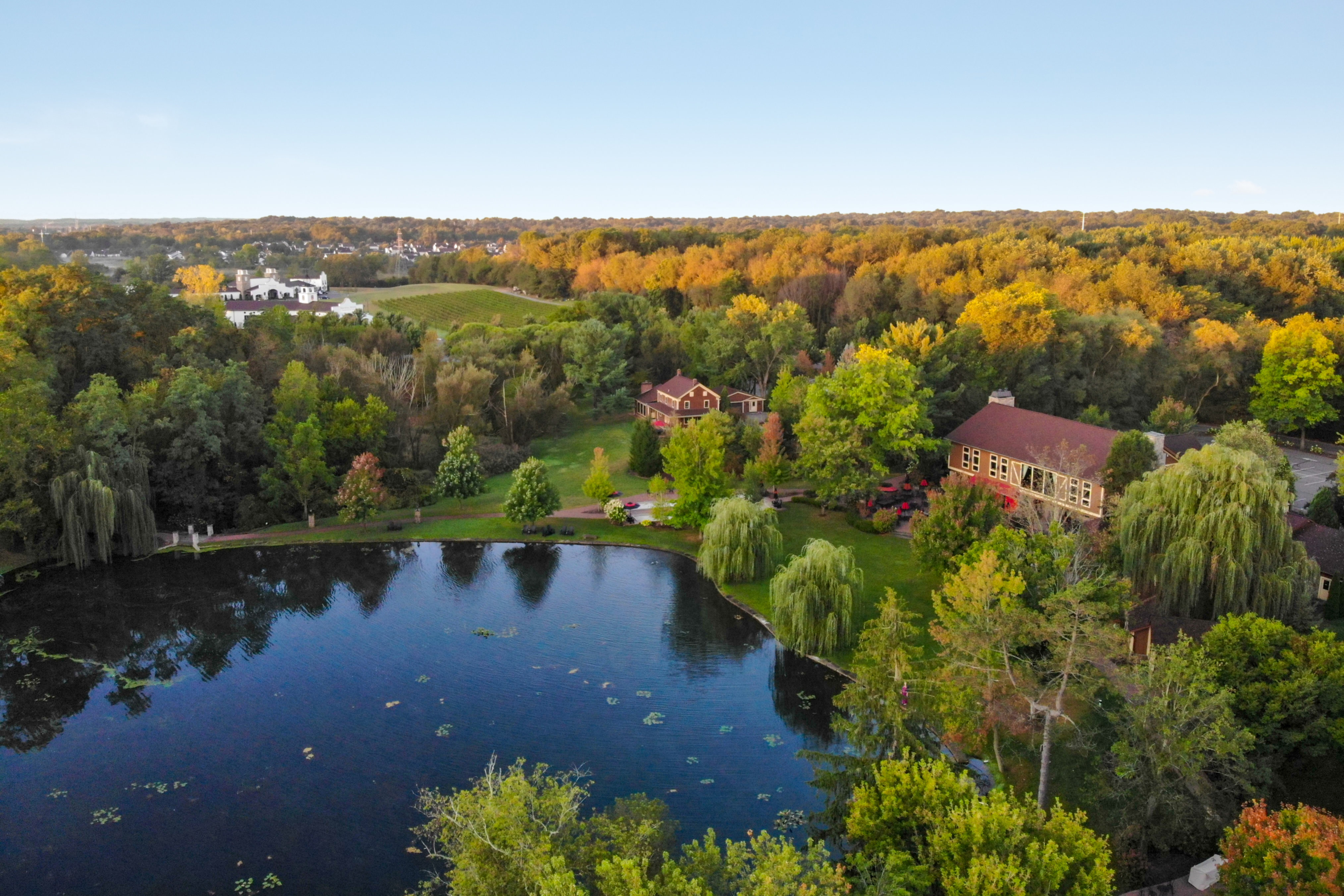 A body of water surrounded by trees at Gervasi Vineyard Luxury Suites.