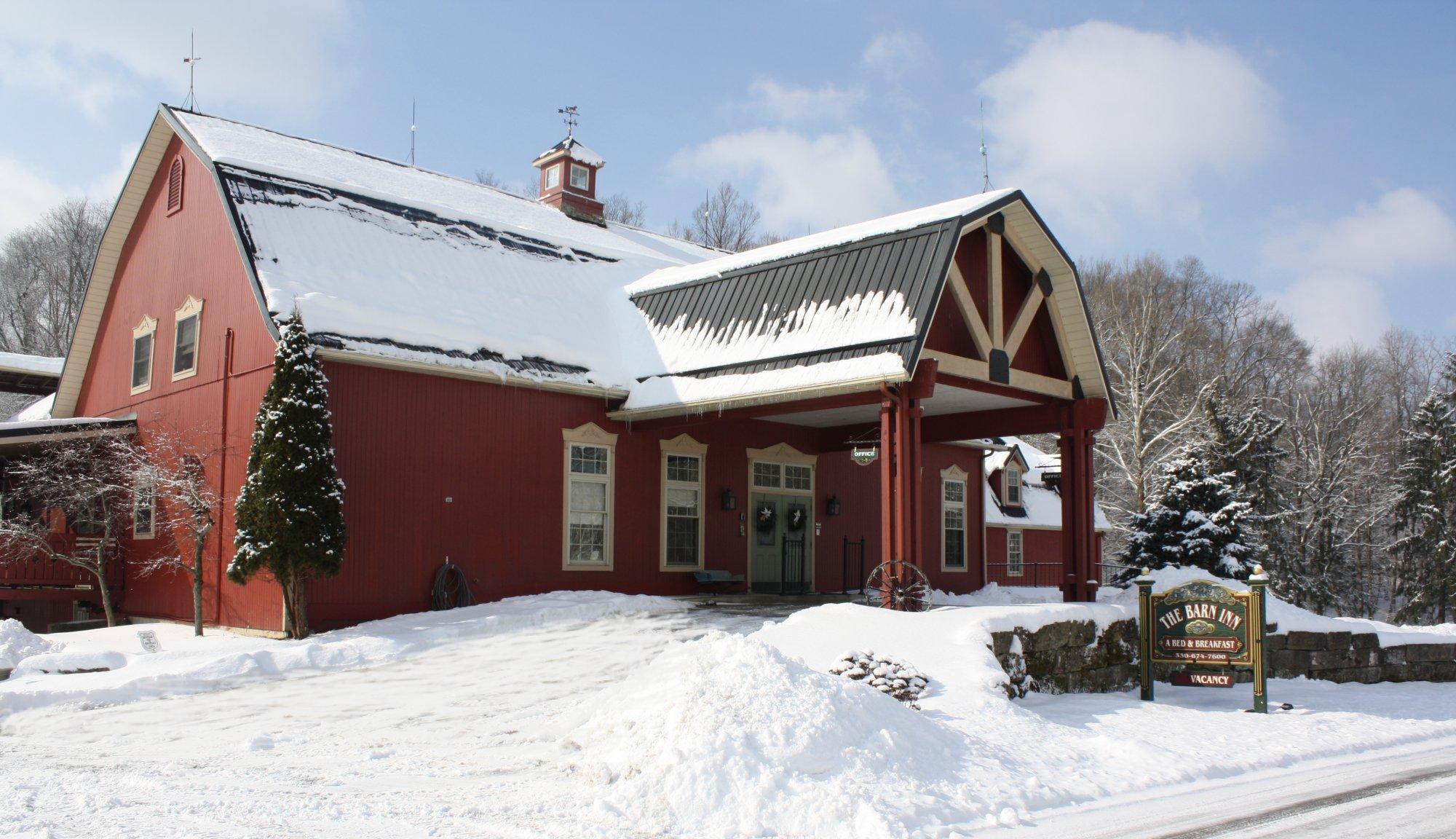 A house covered in snow at Barn Inn.
