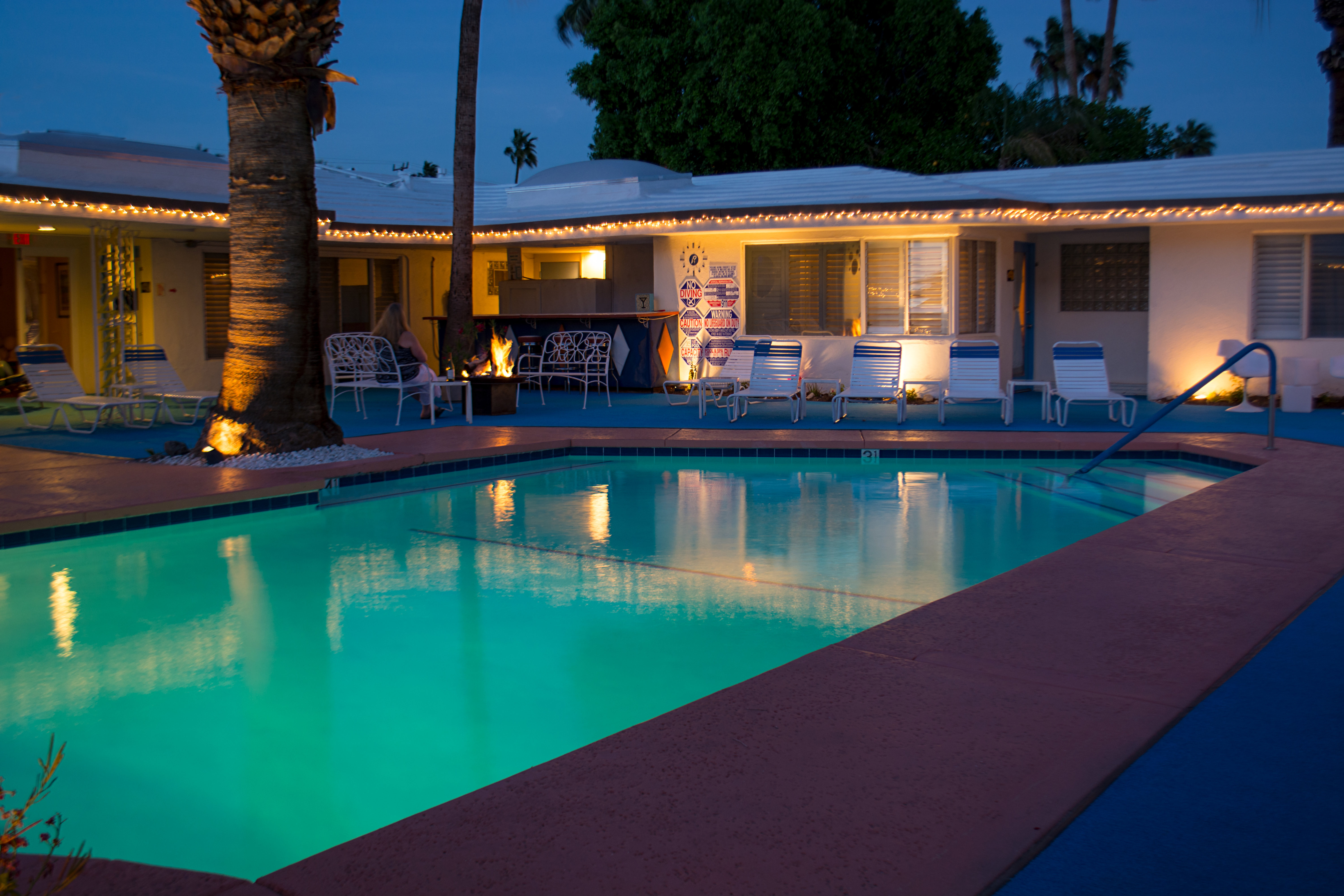 A large pool of water at Palm Springs Rendezvous.