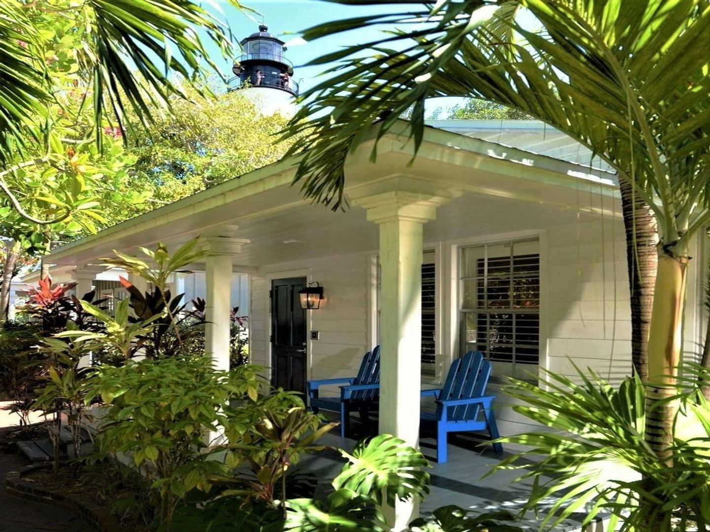 A room filled with furniture and a plant at Authors Key West Guest House.