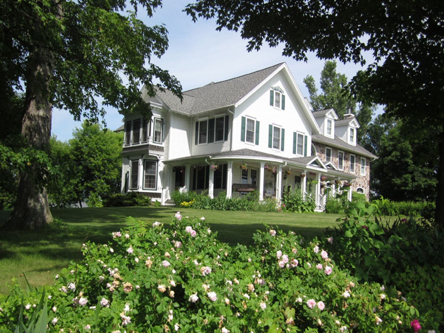 A large lawn in front of a house at Maple Shade Bed and Breakfast.
