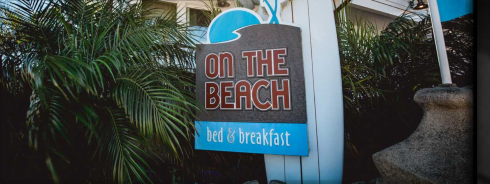 A sign next to a palm tree at On The Beach Bed and Breakfast.