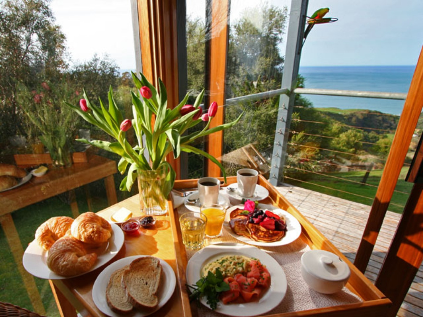 A plate of food on a table at A Room with a View.