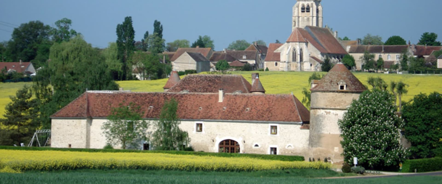 A large brick building with a grassy field at Chateau De Ribourdin.