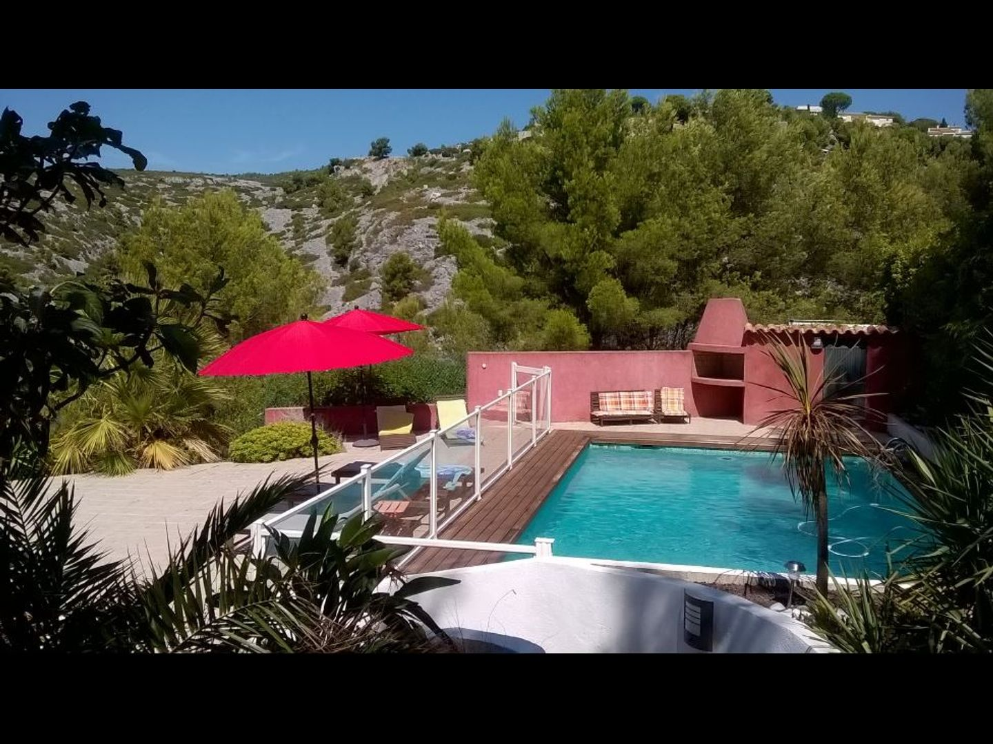 A group of palm trees next to a pool at Chambres d'Hôtes LA GARRIGUE CASSIS.