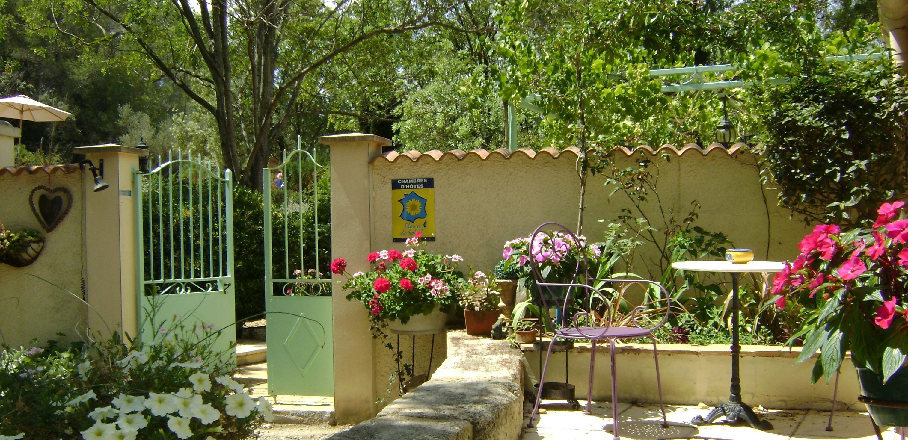 A close up of a flower garden at Domaine a l'Aise.