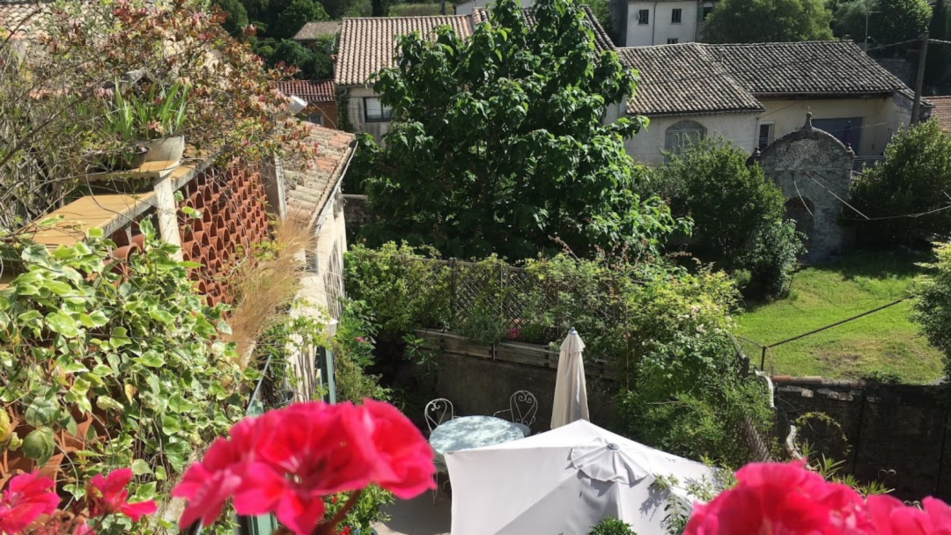 A close up of a flower garden at La Longère Luxury B&B.