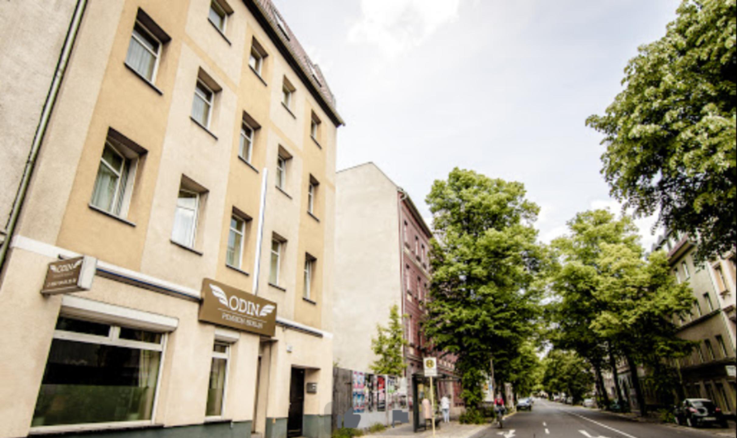 A city street at Pension Odin.