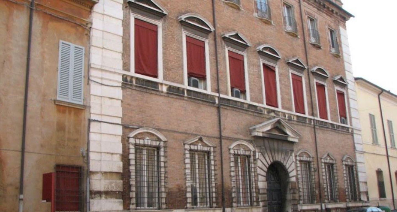 A tall brick building at Avogli Trotti.