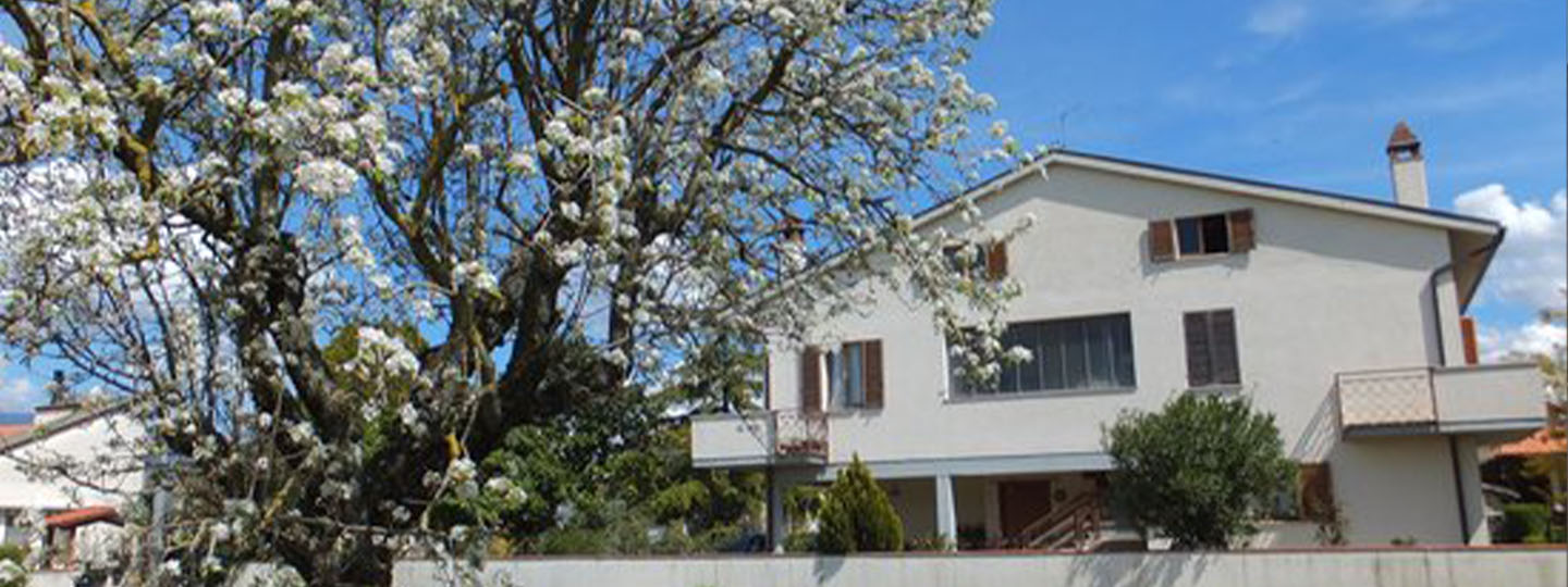 A tree in front of a building at  Bed and Breakfast Cascina Antonini.