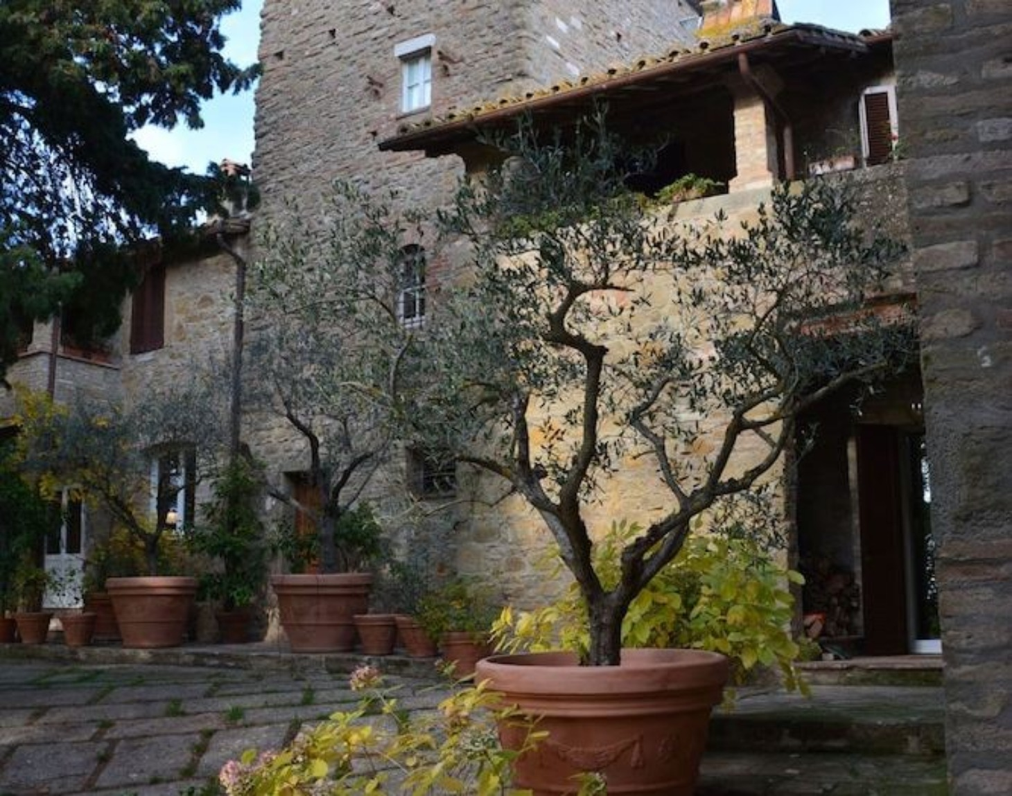 A tree in front of a brick building at Relais Casamassima.