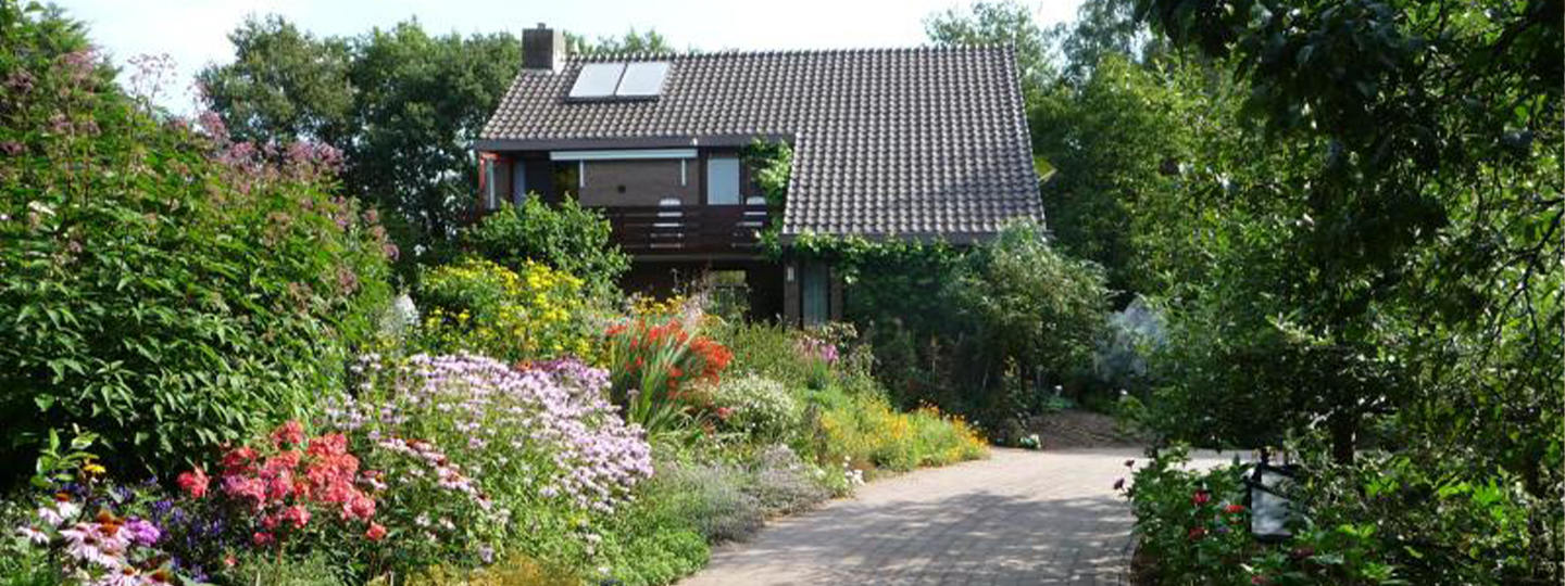 A house with bushes in the background at B & B Familie van Vliet.