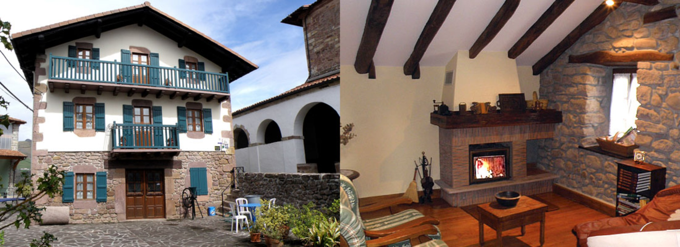 A living room with a fireplace in front of a building at Casa Rural Gontxea.