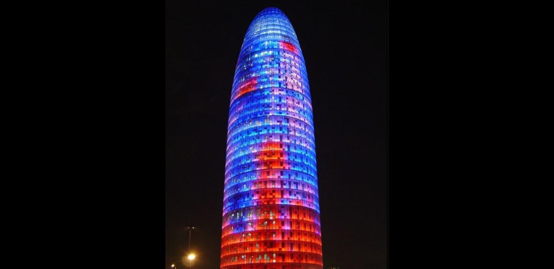 A tower lit up at night at Clot's Park B&B.