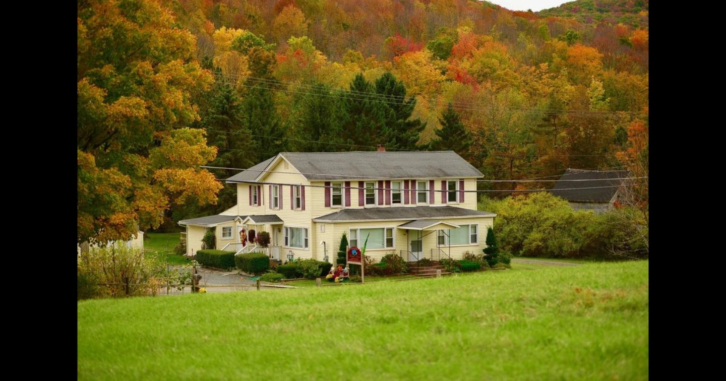 A house on top of a lush green field at Mountain Treasure Bed and Breakfast.