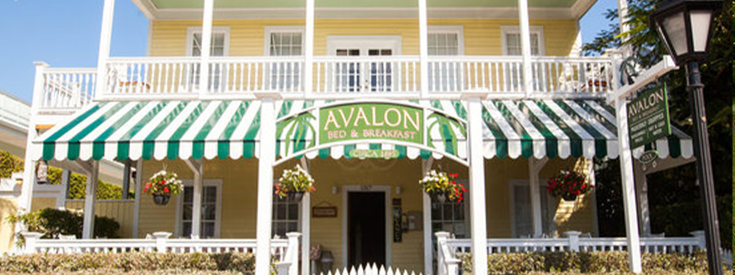 A group of people in front of a building at Avalon Bed & Breakfast.