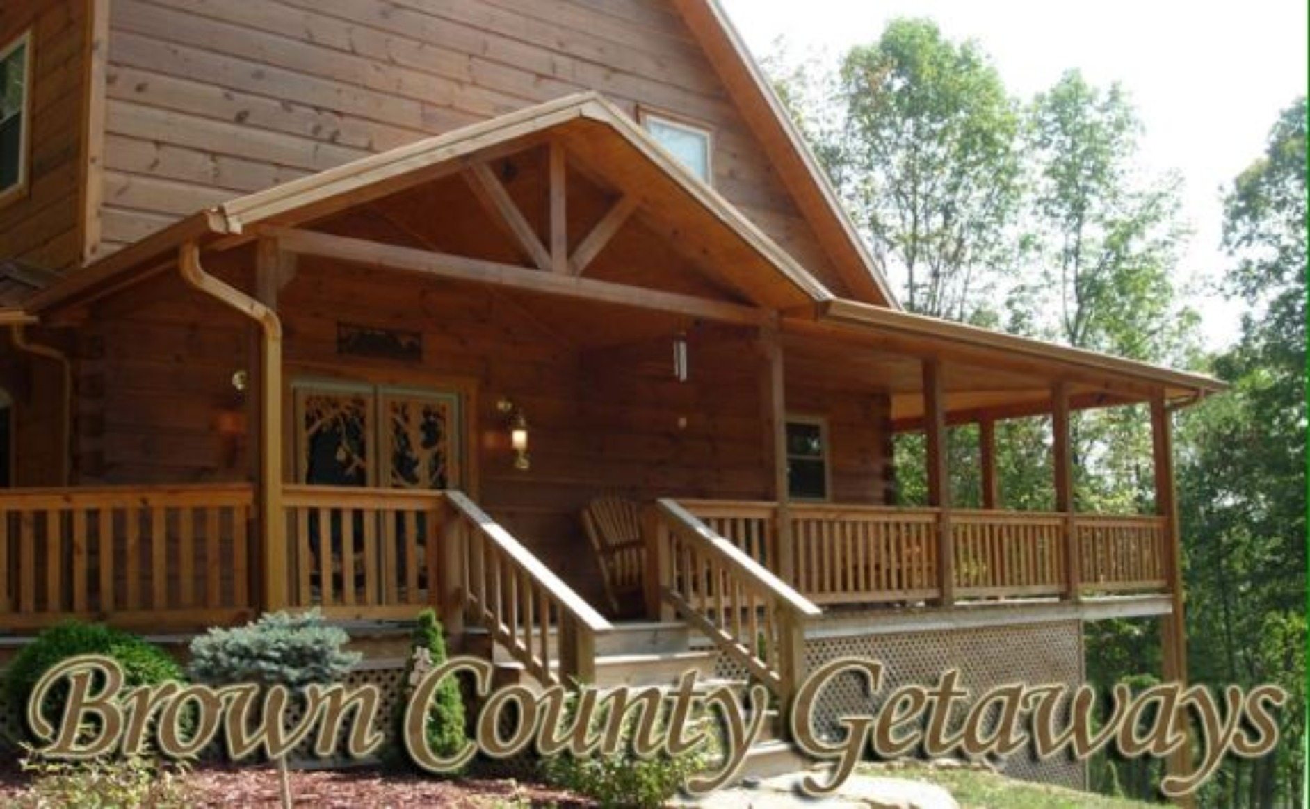 A chair sitting in front of a building at Cozy Bear Cabin of Brown County Getaways.