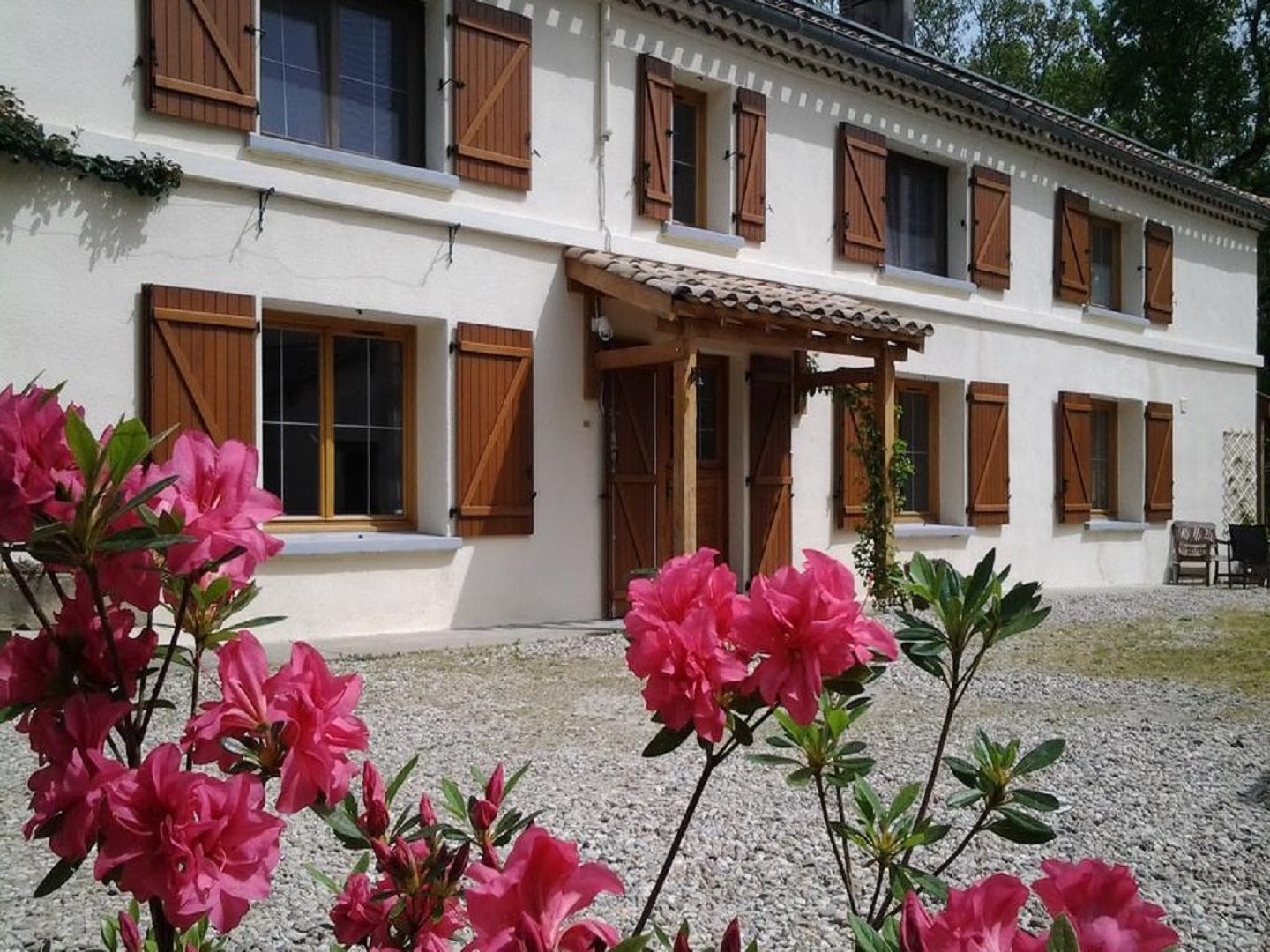 A vase filled with pink flowers in front of a building at La Forestière Chambres et Table d'hôtes.