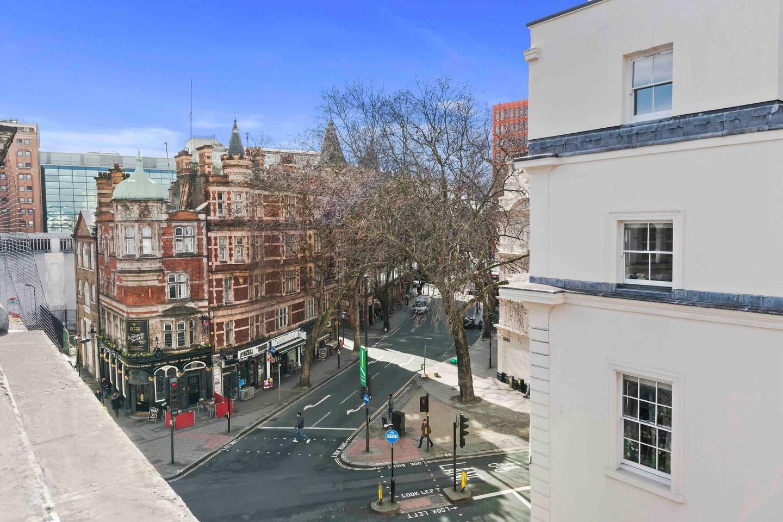 A city street at British Museum Apartment.