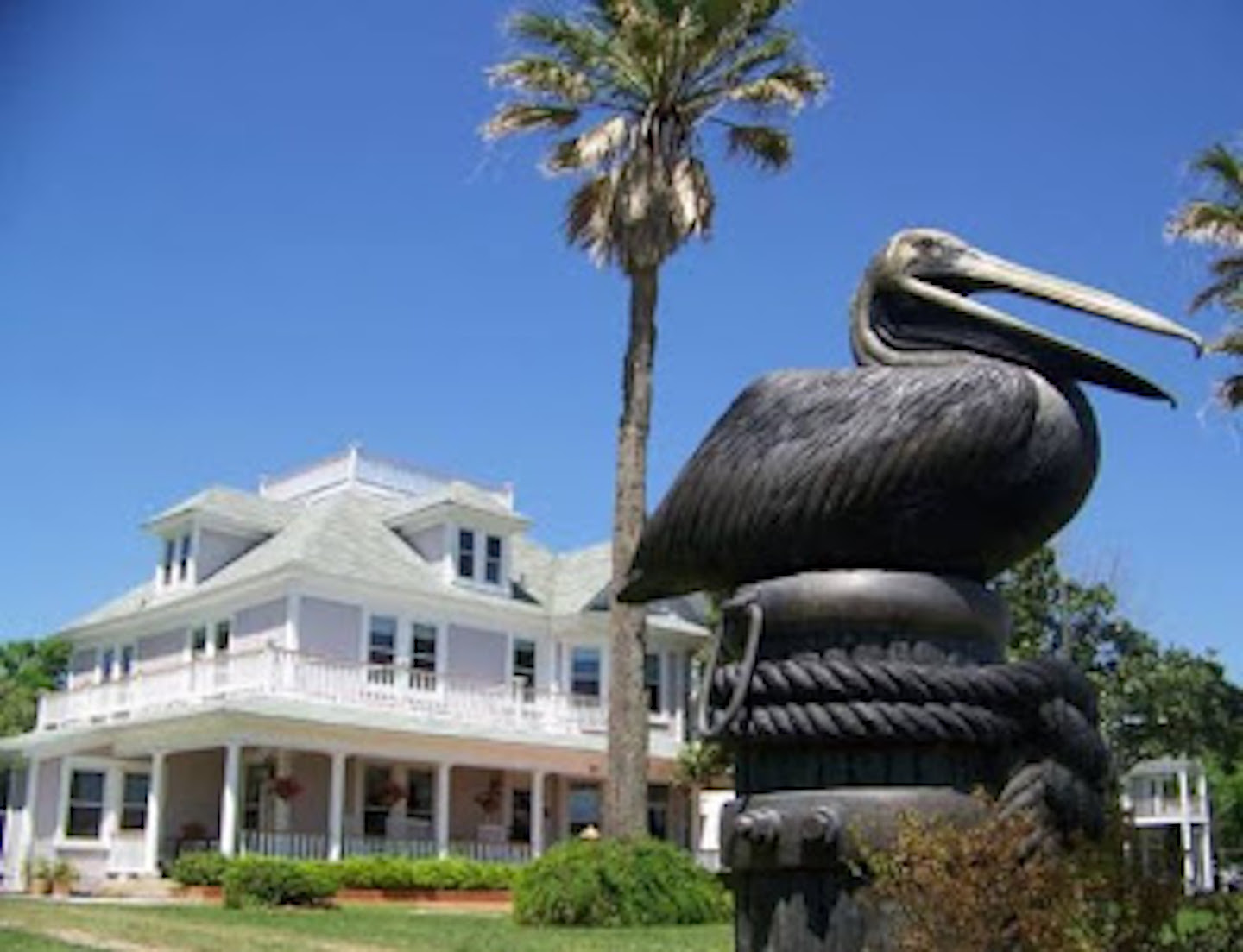 A statue in front of a building at The Peaceful Pelican.