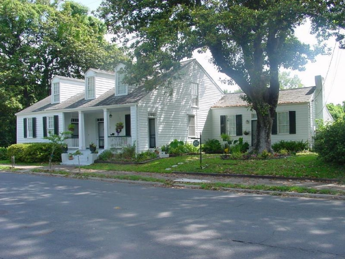 A residential street in front of a house at Magnolia Cottage Bed and Breakfast.