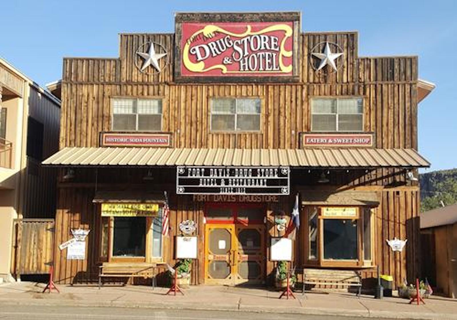 A store front at day at Fort Davis Drug Store & Hotel.